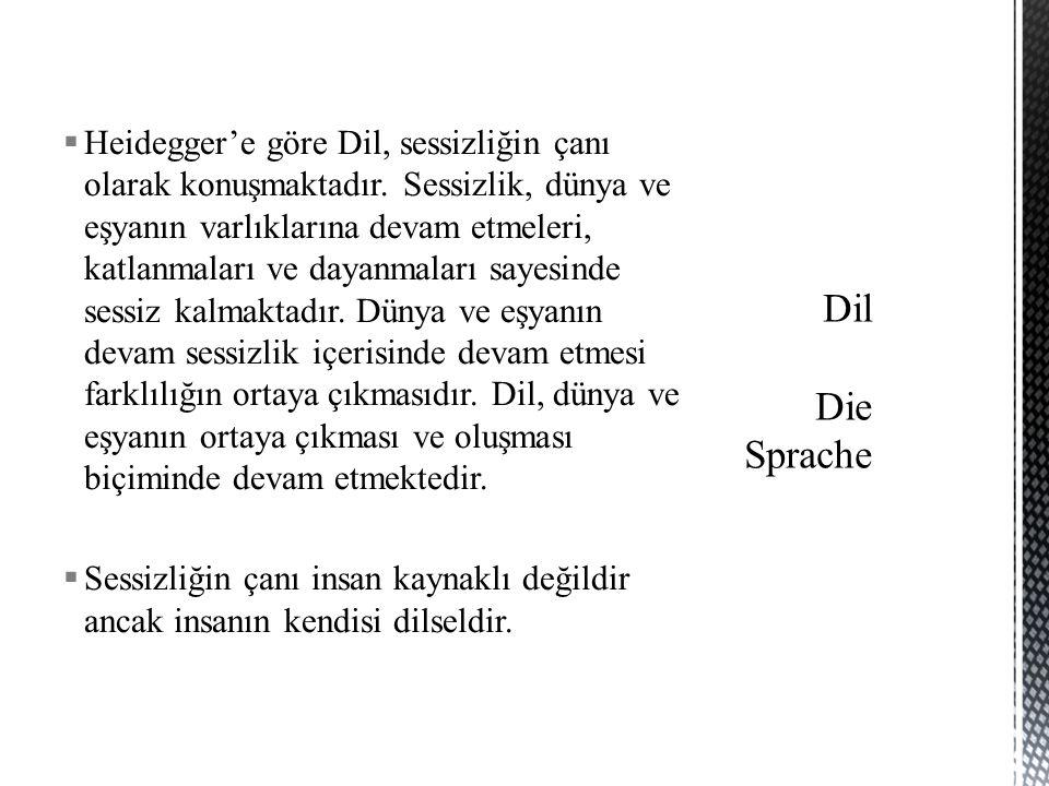  Heidegger'e göre Dil, sessizliğin çanı olarak konuşmaktadır.