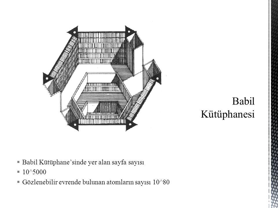  Babil Kütüphane'sinde yer alan sayfa sayısı  10^5000  Gözlenebilir evrende bulunan atomların sayısı 10^80