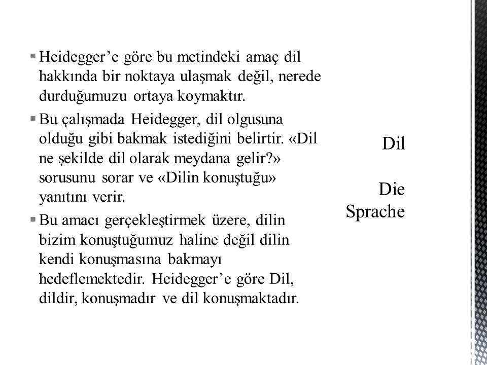  Heidegger'e göre bu metindeki amaç dil hakkında bir noktaya ulaşmak değil, nerede durduğumuzu ortaya koymaktır.  Bu çalışmada Heidegger, dil olgusu
