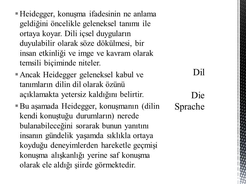  Heidegger, konuşma ifadesinin ne anlama geldiğini öncelikle geleneksel tanımı ile ortaya koyar. Dili içsel duyguların duyulabilir olarak söze dökülm