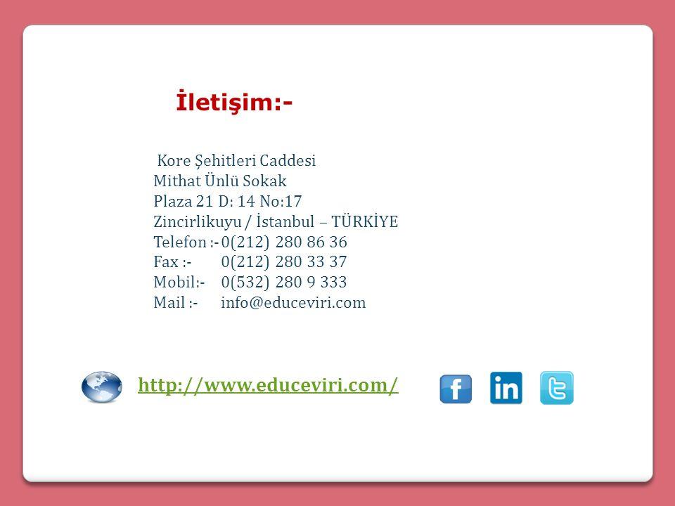 İletişim:- Kore Şehitleri Caddesi Mithat Ünlü Sokak Plaza 21 D: 14 No:17 Zincirlikuyu / İstanbul – TÜRKİYE Telefon :-0(212) 280 86 36 Fax :-0(212) 280