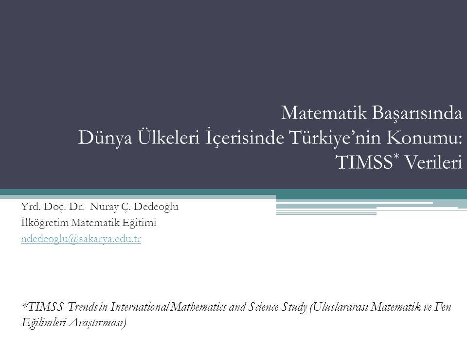 TIMSS … Uluslararası Eğitim Başarılarını Değerlendirme Kuruluşu (International Association for the Evaluation of Educational Achievement) IEA nın bir projesi (70 üye ülke) Öğrencilerin matematik ve fen alanlarında kazandıkları bilgi ve becerilerin değerlendirilmesine yönelik bir tarama araştırması Dünyadaki en büyük ve en kapsamlı uluslararası öğrenci başarılarını değerlendirme çalışması Yrd.