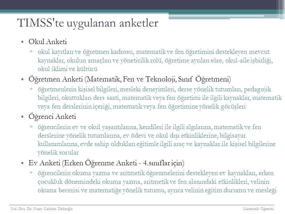 TIMSS 2011 4.Sınıf Bilişsel Düzeylerdeki Doğru Cevaplama Yüzdelerine Göre Türkiye'nin Konumu Yrd.
