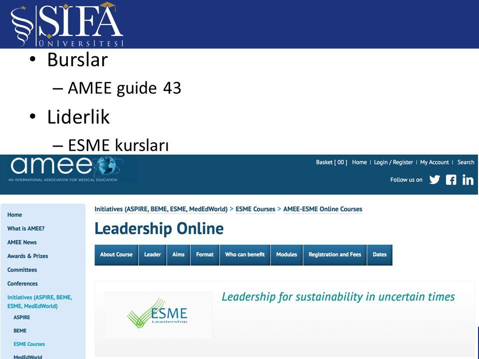 Burslar – AMEE guide 43 Liderlik – ESME kursları / 2322