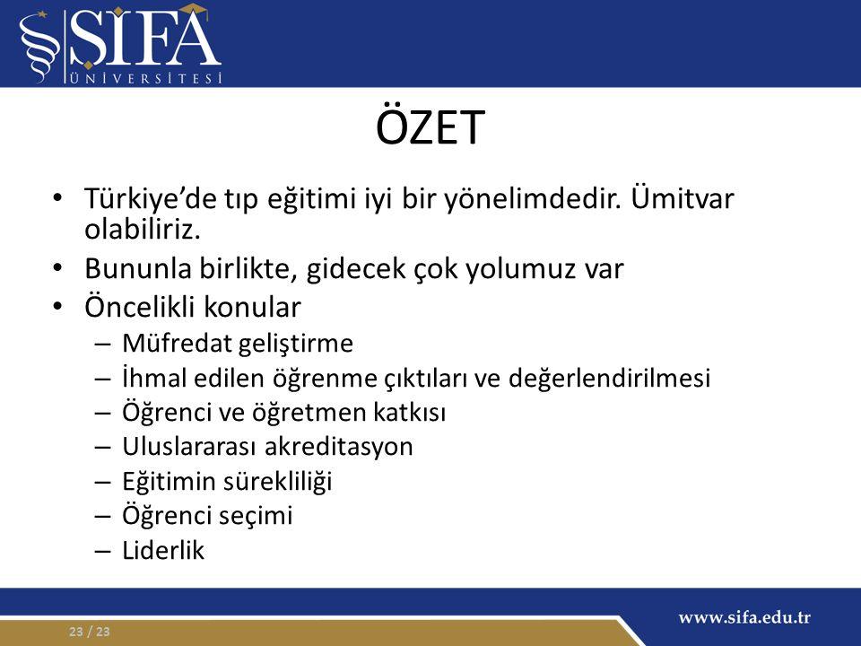 ÖZET Türkiye'de tıp eğitimi iyi bir yönelimdedir. Ümitvar olabiliriz.
