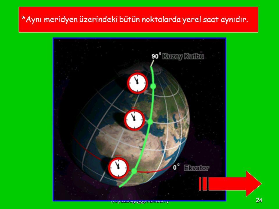 FEYAZ BİLGİ (feyazbilgi@gmail.com)23 180 Doğu ve 180 Batı meridyenleri aynı ve tek meridyendir.