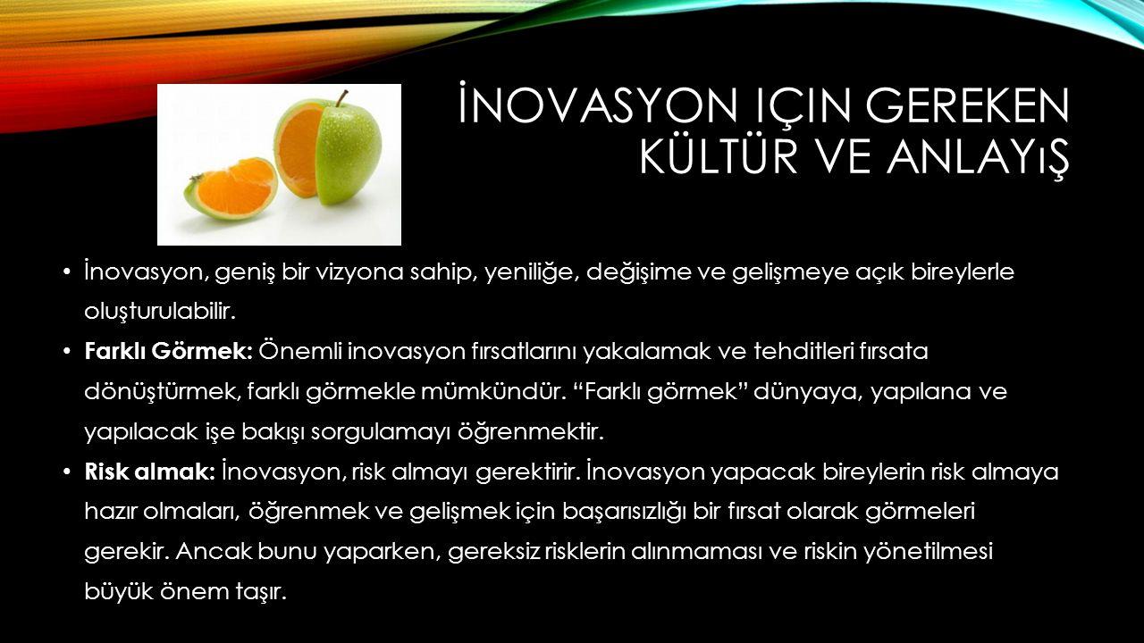 İNOVASYON IÇIN GEREKEN KÜLTÜR VE ANLAYıŞ İnovasyon, geniş bir vizyona sahip, yeniliğe, değişime ve gelişmeye açık bireylerle oluşturulabilir. Farklı G