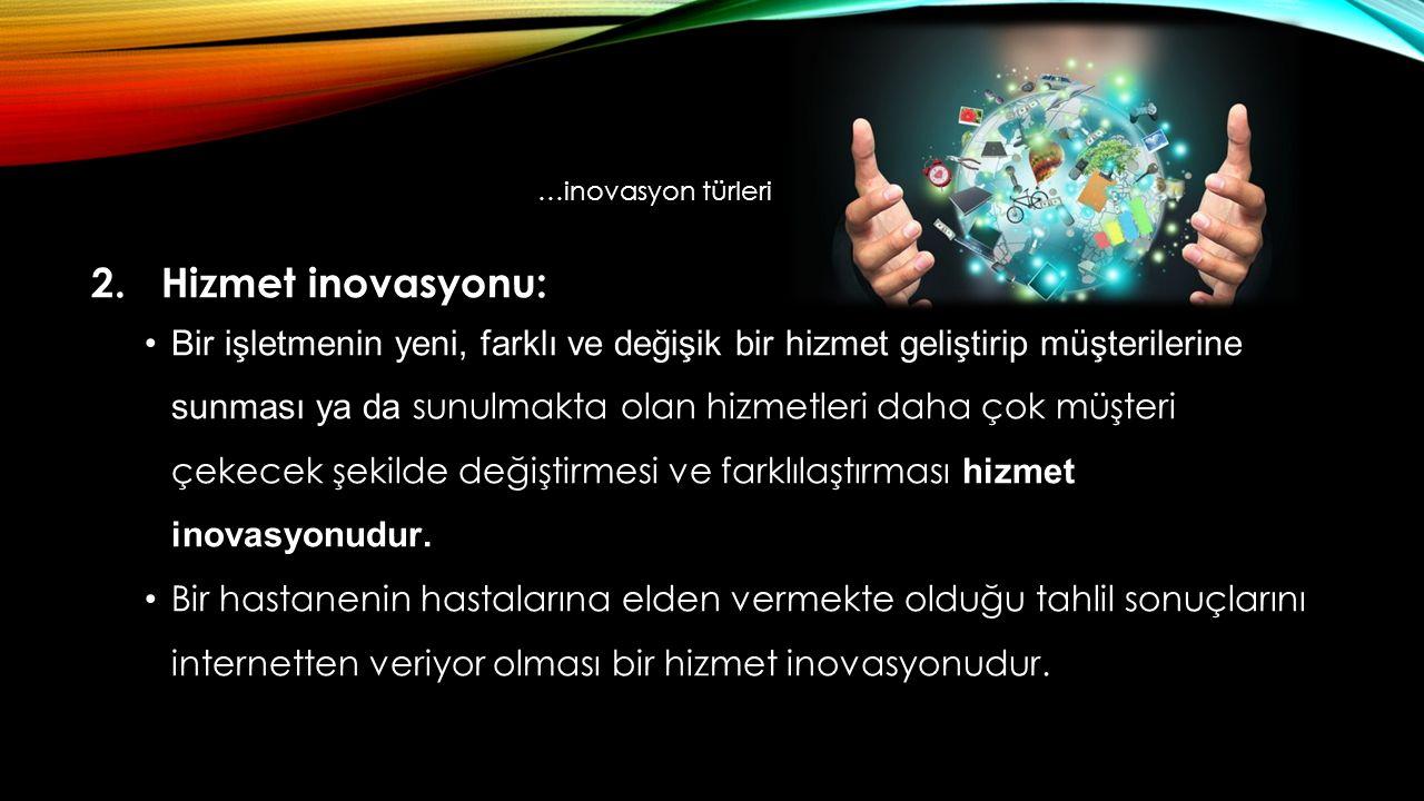 …inovasyon türleri 2. Hizmet inovasyonu: Bir işletmenin yeni, farklı ve değişik bir hizmet geliştirip müşterilerine sunması ya da sunulmakta olan hizm