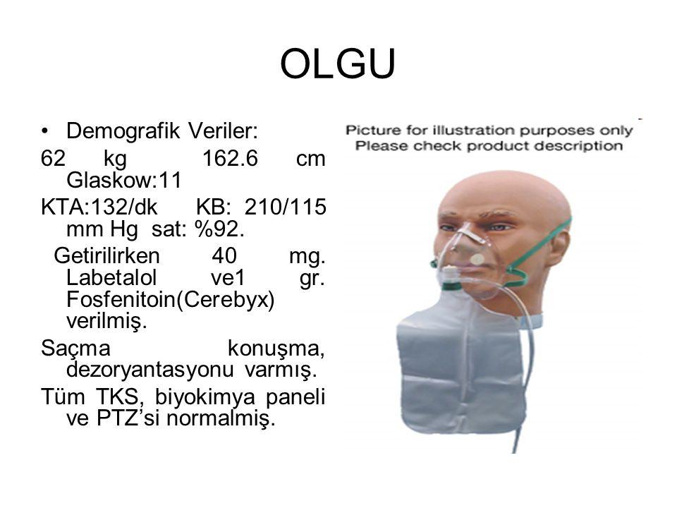 OLGU Demografik Veriler: 62 kg 162.6 cm Glaskow:11 KTA:132/dk KB: 210/115 mm Hg sat: %92.