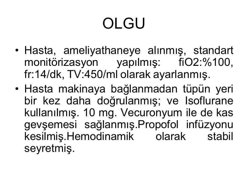 OLGU Hasta, ameliyathaneye alınmış, standart monitörizasyon yapılmış: fiO2:%100, fr:14/dk, TV:450/ml olarak ayarlanmış.