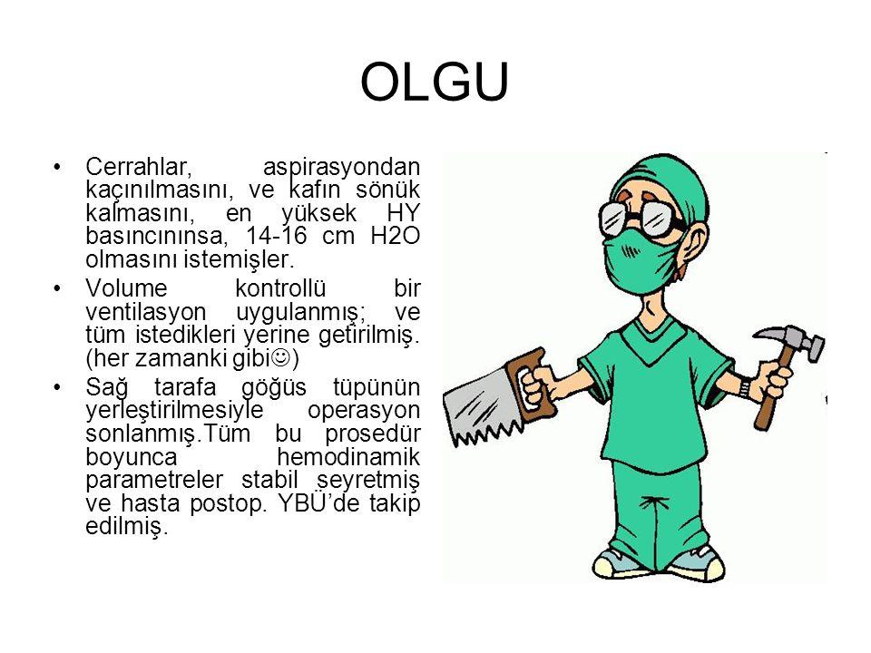 OLGU Cerrahlar, aspirasyondan kaçınılmasını, ve kafın sönük kalmasını, en yüksek HY basıncınınsa, 14-16 cm H2O olmasını istemişler.