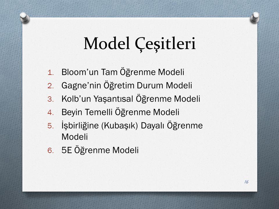 Model Çeşitleri 1. Bloom'un Tam Öğrenme Modeli 2.