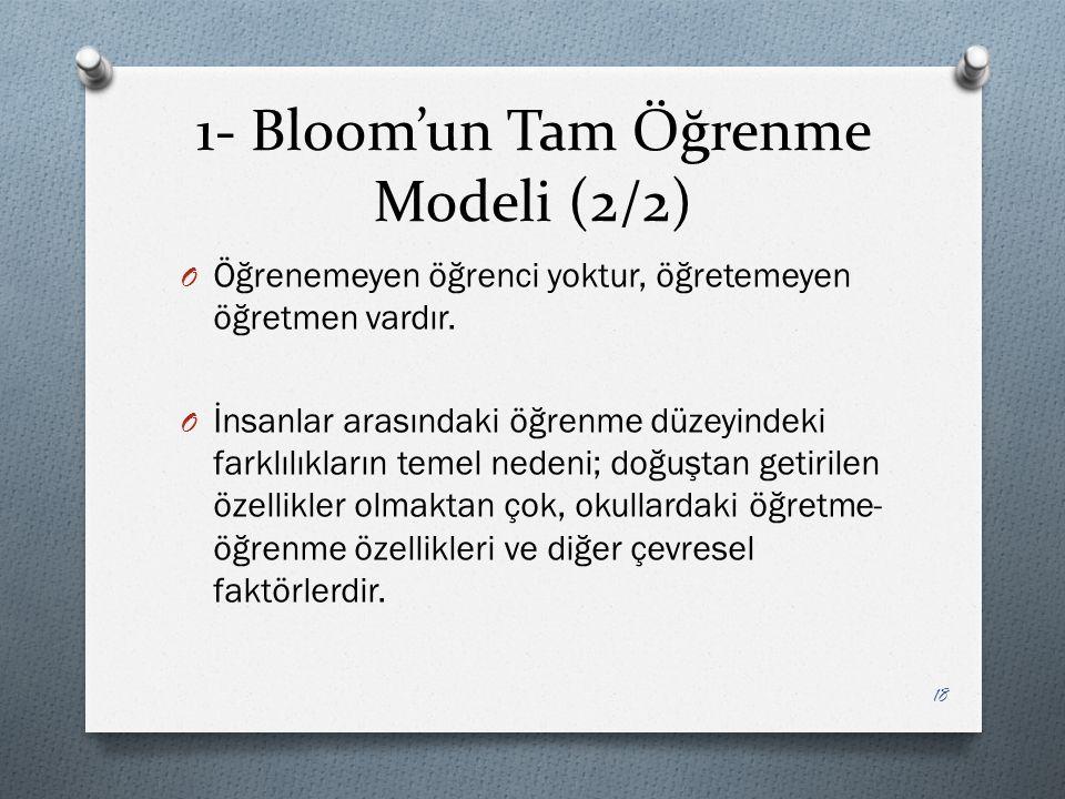 1- Bloom'un Tam Öğrenme Modeli (2/2) O Öğrenemeyen öğrenci yoktur, öğretemeyen öğretmen vardır.