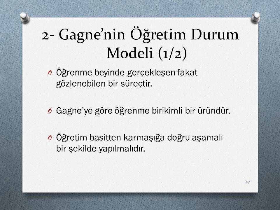 2- Gagne'nin Öğretim Durum Modeli (1/2) O Öğrenme beyinde gerçekleşen fakat gözlenebilen bir süreçtir.
