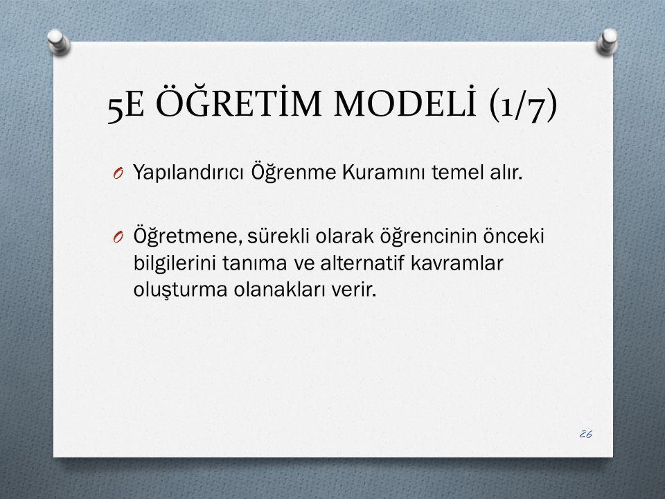 5E ÖĞRETİM MODELİ (1/7) O Yapılandırıcı Öğrenme Kuramını temel alır.