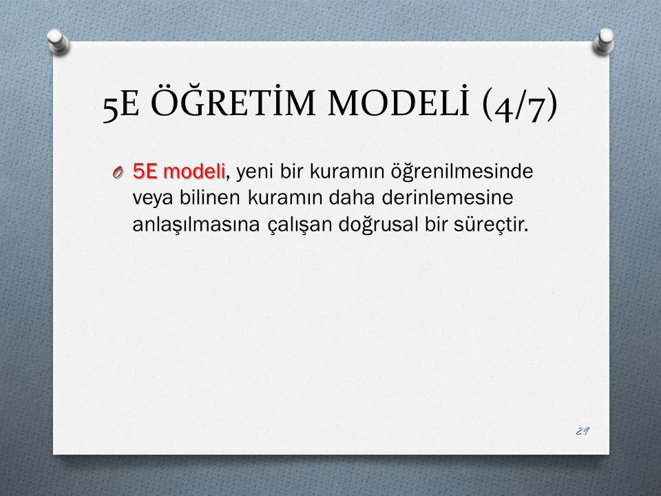5E ÖĞRETİM MODELİ (4/7) O 5E modeli O 5E modeli, yeni bir kuramın öğrenilmesinde veya bilinen kuramın daha derinlemesine anlaşılmasına çalışan doğrusal bir süreçtir.