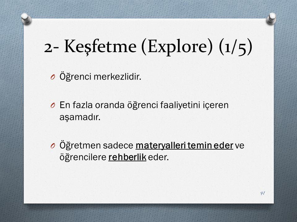 2- Keşfetme (Explore) (1/5) O Öğrenci merkezlidir.