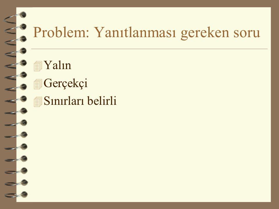 Problem: Yanıtlanması gereken soru 4 Yalın 4 Gerçekçi 4 Sınırları belirli