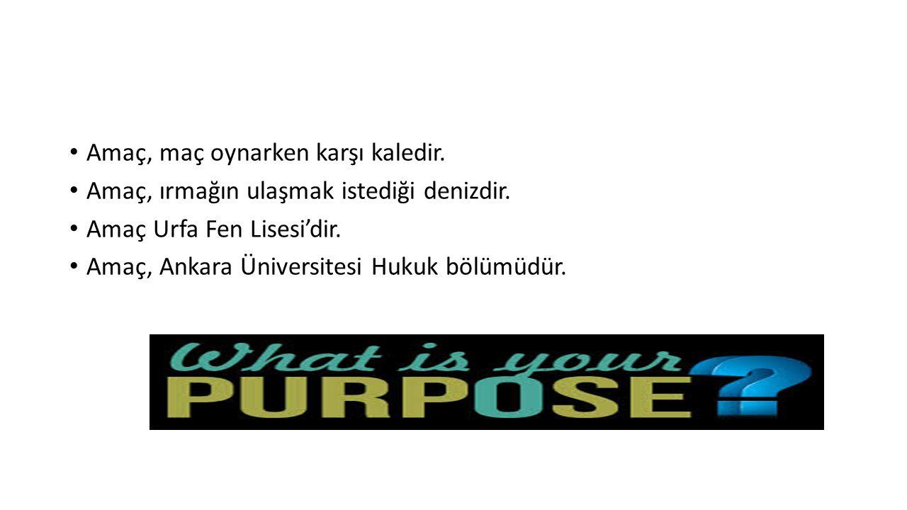 Amaç, maç oynarken karşı kaledir. Amaç, ırmağın ulaşmak istediği denizdir. Amaç Urfa Fen Lisesi'dir. Amaç, Ankara Üniversitesi Hukuk bölümüdür.