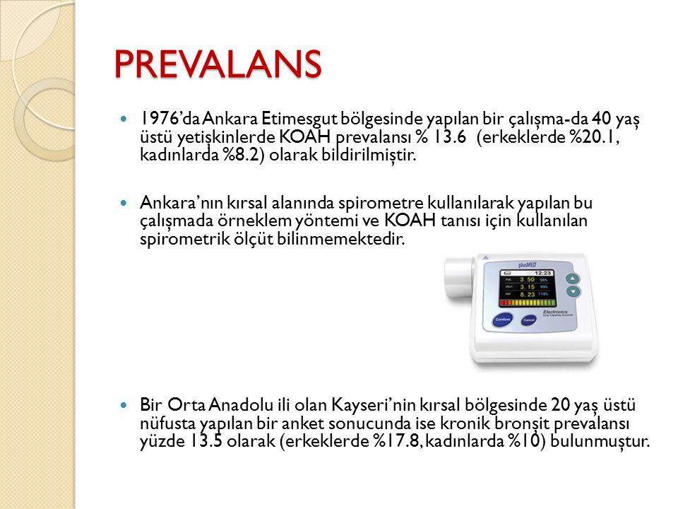 PREVALANS 1976'da Ankara Etimesgut bölgesinde yapılan bir çalışma-da 40 yaş üstü yetişkinlerde KOAH prevalansı % 13.6 (erkeklerde %20.1, kadınlarda %8
