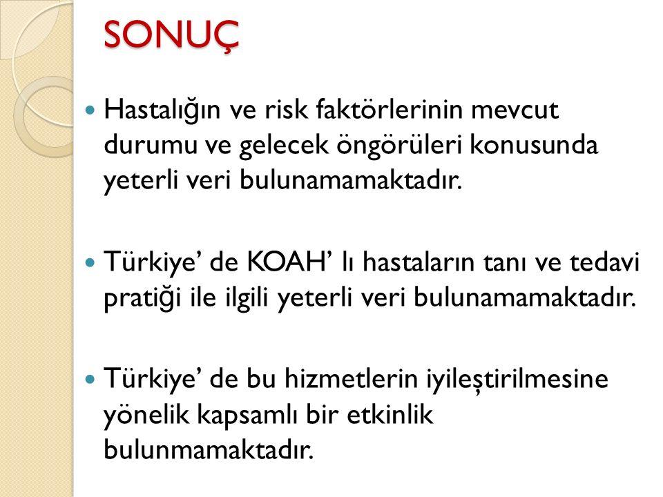 SONUÇ Hastalı ğ ın ve risk faktörlerinin mevcut durumu ve gelecek öngörüleri konusunda yeterli veri bulunamamaktadır. Türkiye' de KOAH' lı hastaların
