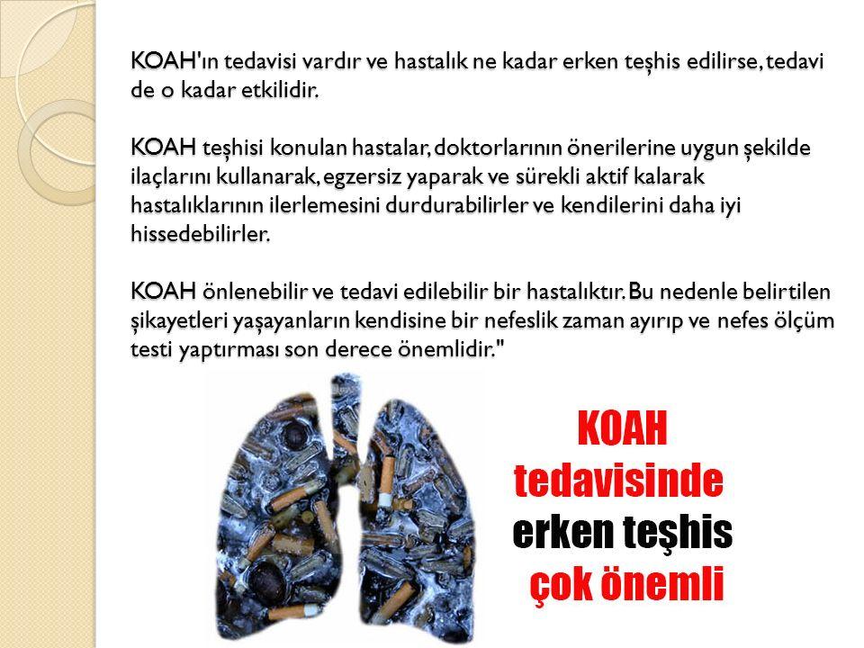 KOAH'ın tedavisi vardır ve hastalık ne kadar erken teşhis edilirse, tedavi de o kadar etkilidir. KOAH teşhisi konulan hastalar, doktorlarının öneriler