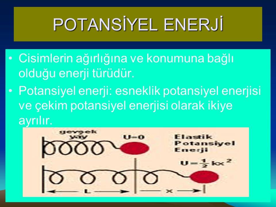 POTANSİYEL ENERJİ Cisimlerin ağırlığına ve konumuna bağlı olduğu enerji türüdür. Potansiyel enerji: esneklik potansiyel enerjisi ve çekim potansiyel e
