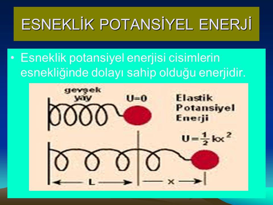 ESNEKLİK POTANSİYEL ENERJİ Esneklik potansiyel enerjisi cisimlerin esnekliğinde dolayı sahip olduğu enerjidir.