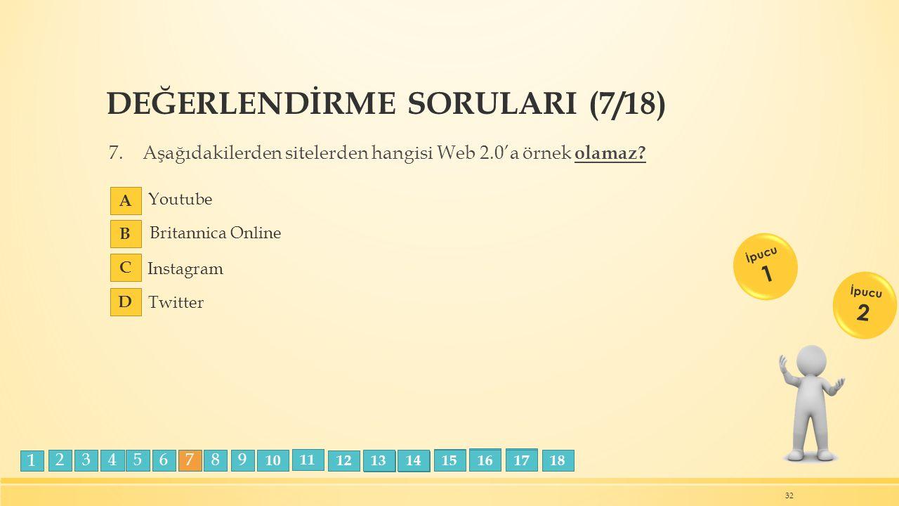 DEĞERLENDİRME SORULARI (7/18) 7.Aşağıdakilerden sitelerden hangisi Web 2.0'a örnek olamaz? 32 İpucu 1 İpucu 2 Instagram Youtube Britannica Online Twit