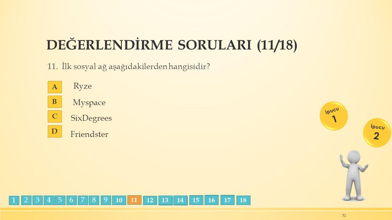 DEĞERLENDİRME SORULARI (11/18) 11. İlk sosyal ağ aşağıdakilerden hangisidir.