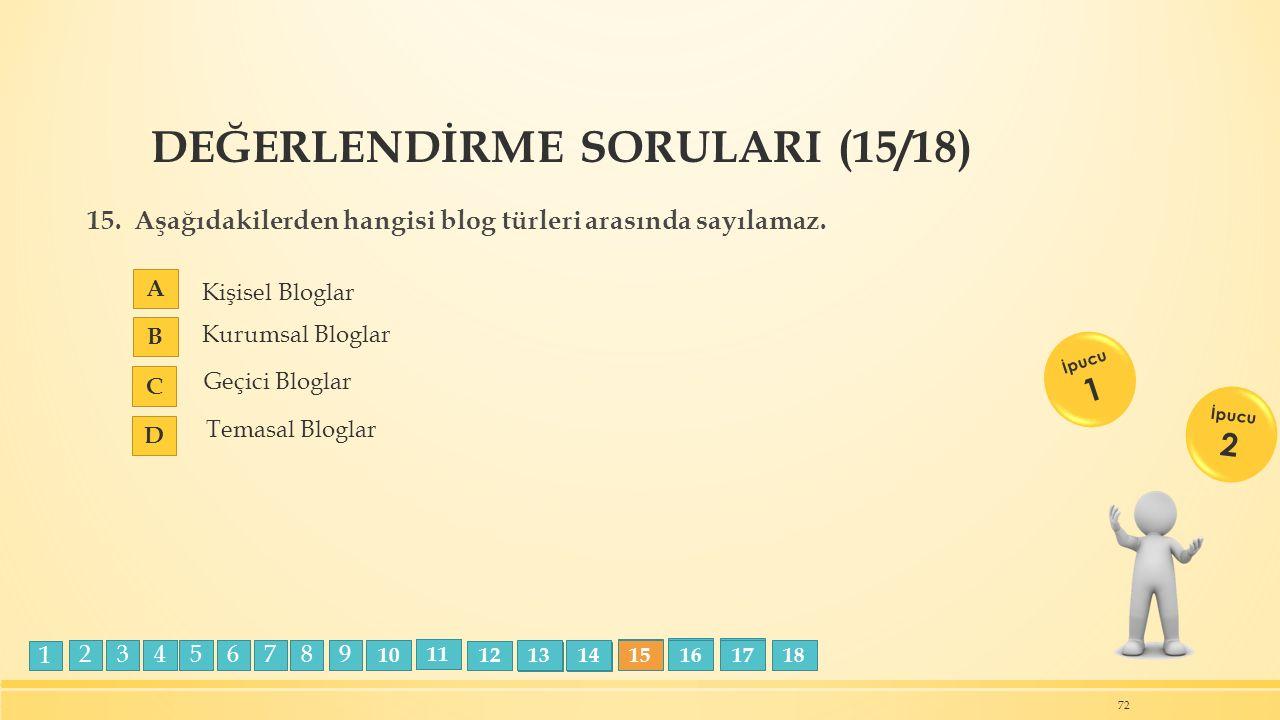 DEĞERLENDİRME SORULARI (15/18) 15. Aşağıdakilerden hangisi blog türleri arasında sayılamaz. A B C D 72 İpucu 1 İpucu 2 Kişisel Bloglar Temasal Bloglar