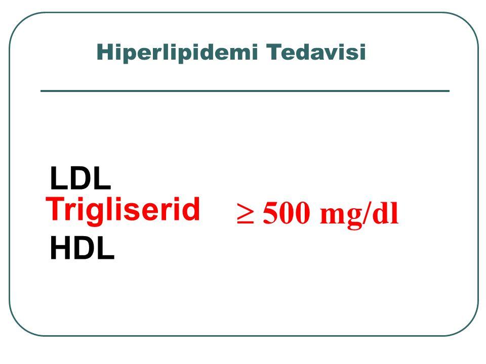 LDL HDL Trigliserid  500 mg/dl Hiperlipidemi Tedavisi