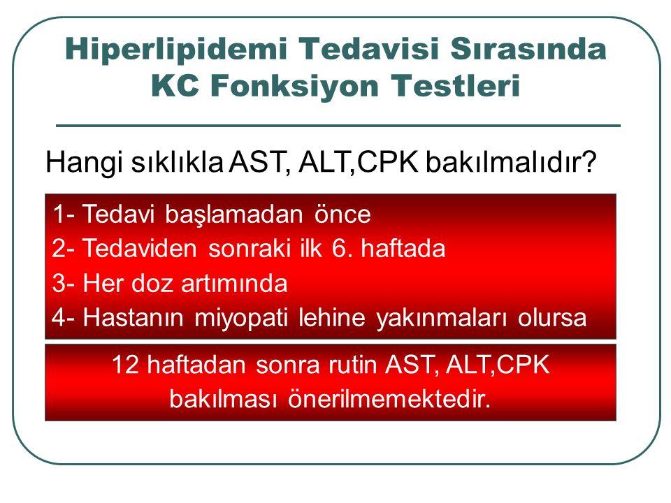 Hiperlipidemi Tedavisi Sırasında KC Fonksiyon Testleri Hangi sıklıkla AST, ALT,CPK bakılmalıdır? 1- Tedavi başlamadan önce 2- Tedaviden sonraki ilk 6.