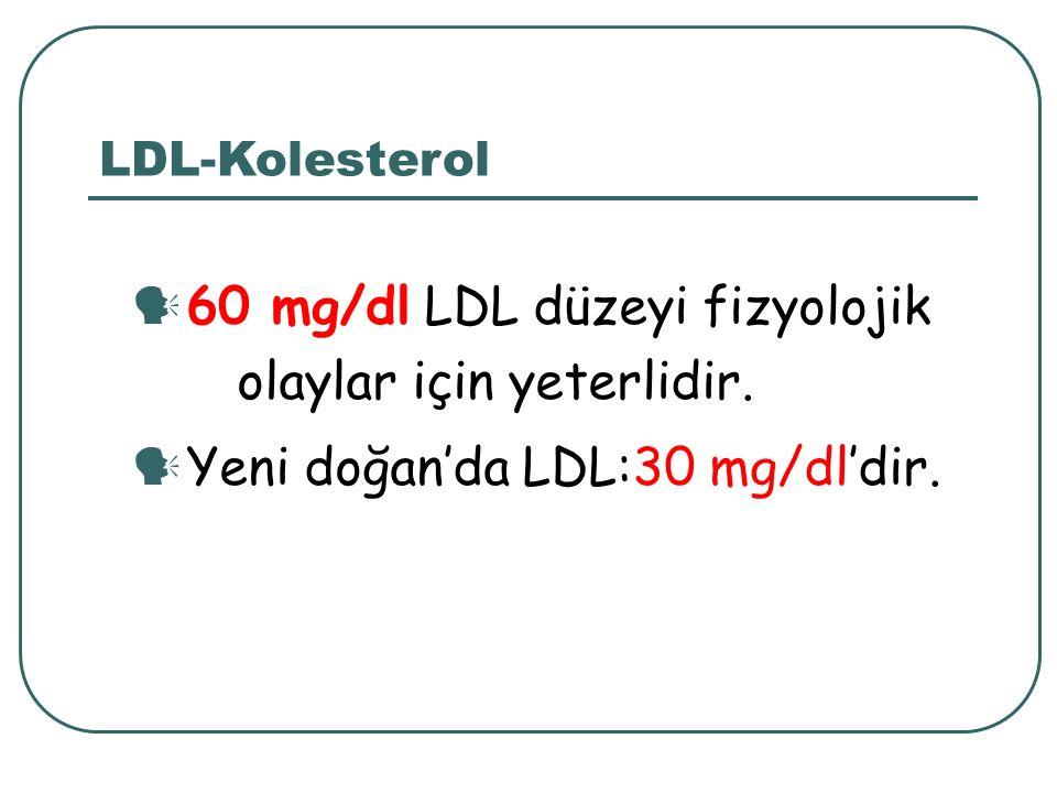60 mg/dl LDL düzeyi fizyolojik olaylar için yeterlidir. Yeni doğan'da LDL:30 mg/dl'dir. LDL-Kolesterol