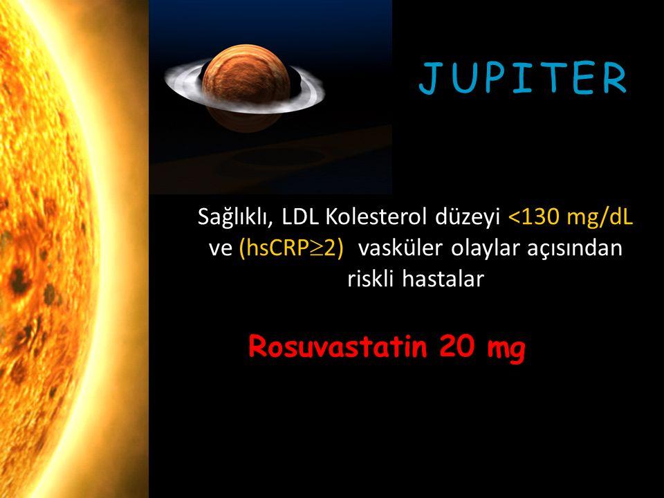 Sağlıklı, LDL Kolesterol düzeyi <130 mg/dL ve (hsCRP  2) vasküler olaylar açısından riskli hastalar JUPITER Rosuvastatin 20 mg