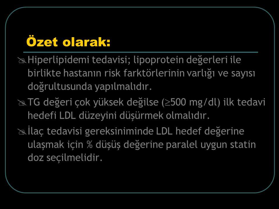 Özet olarak:  Hiperlipidemi tedavisi; lipoprotein değerleri ile birlikte hastanın risk farktörlerinin varlığı ve sayısı doğrultusunda yapılmalıdır. 