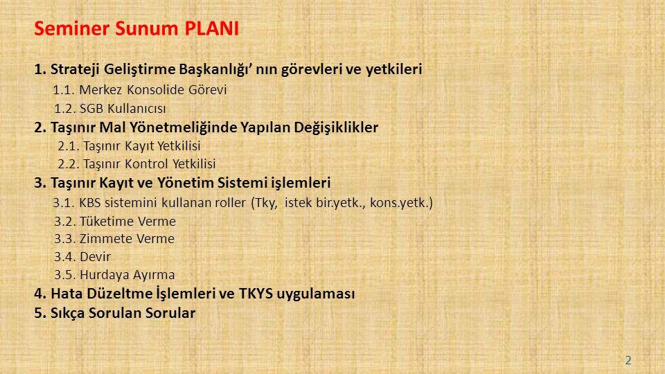 Seminer Sunum PLANI 1.Strateji Geliştirme Başkanlığı' nın görevleri ve yetkileri 1.1.