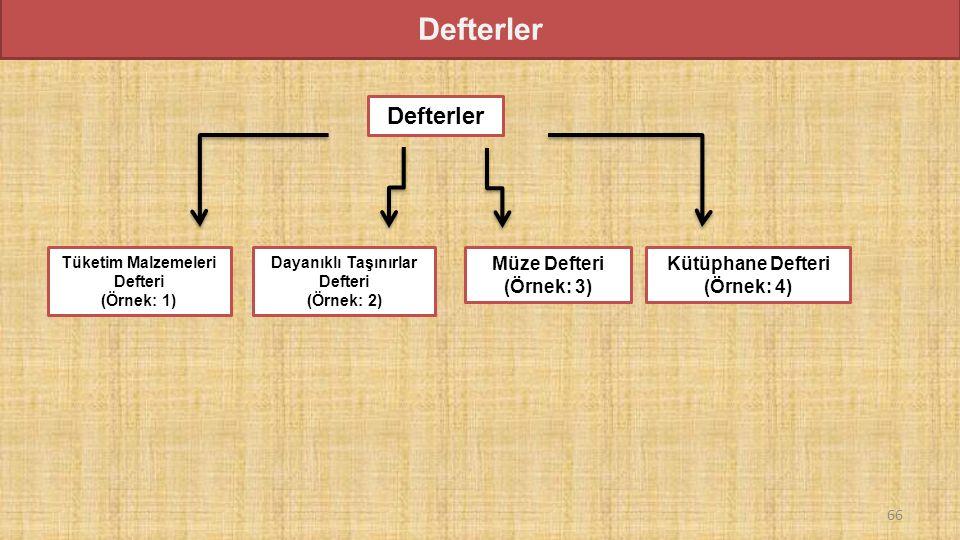 Defterler Tüketim Malzemeleri Defteri (Örnek: 1) Defterler Dayanıklı Taşınırlar Defteri (Örnek: 2) Müze Defteri (Örnek: 3) Kütüphane Defteri (Örnek: 4) 66