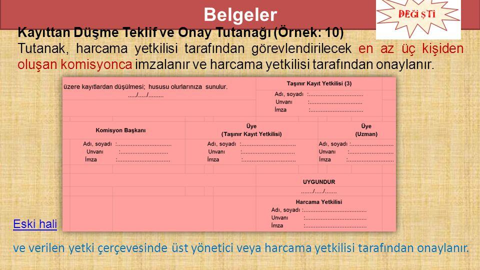 Belgeler Kayıttan Düşme Teklif ve Onay Tutanağı (Örnek: 10) Tutanak, harcama yetkilisi tarafından görevlendirilecek en az üç kişiden oluşan komisyonca imzalanır ve harcama yetkilisi tarafından onaylanır.