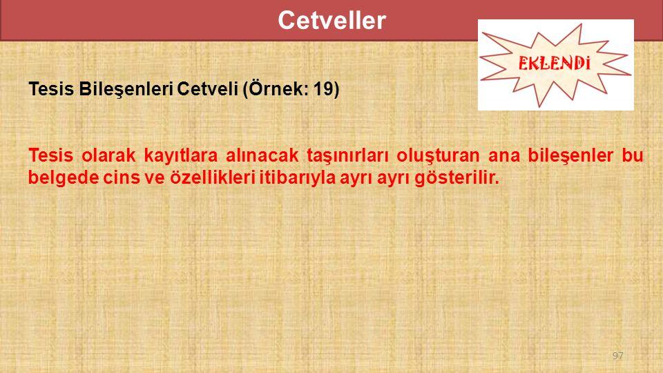 Cetveller Tesis Bileşenleri Cetveli (Örnek: 19) Tesis olarak kayıtlara alınacak taşınırları oluşturan ana bileşenler bu belgede cins ve özellikleri itibarıyla ayrı ayrı gösterilir.