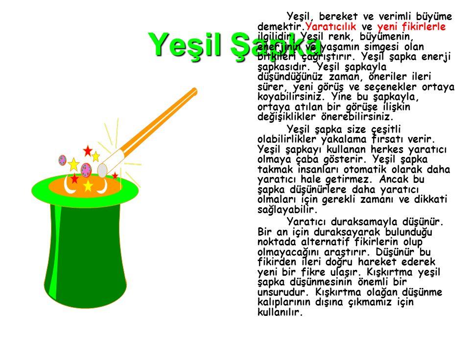 Yeşil Şapka Yeşil, bereket ve verimli büyüme demektir.Yaratıcılık ve yeni fikirlerle ilgilidir. Yeşil renk, büyümenin, enerjinin ve yaşamın simgesi ol
