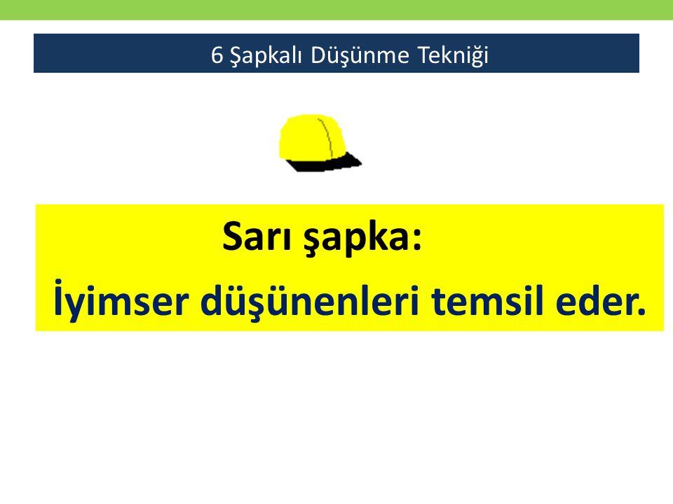Sarı şapka: İyimser düşünenleri temsil eder. 6 Şapkalı Düşünme Tekniği