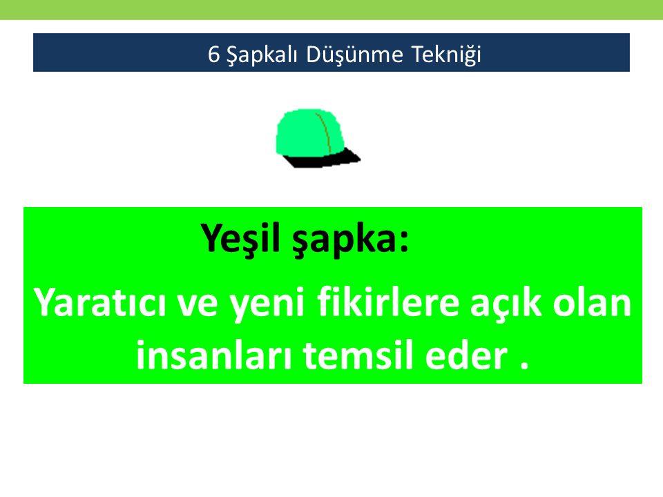 Yeşil şapka: Yaratıcı ve yeni fikirlere açık olan insanları temsil eder. 6 Şapkalı Düşünme Tekniği