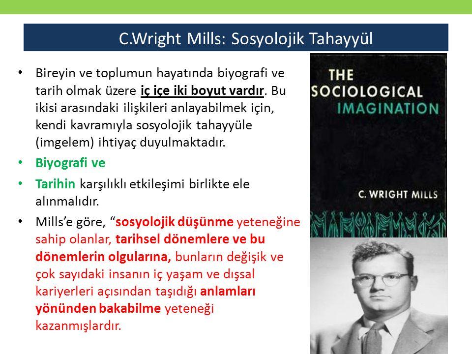 Bireyin ve toplumun hayatında biyografi ve tarih olmak üzere iç içe iki boyut vardır. Bu ikisi arasındaki ilişkileri anlayabilmek için, kendi kavramıy