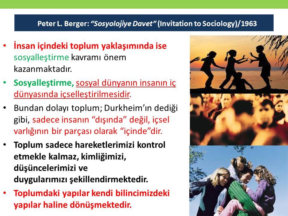 İnsan içindeki toplum yaklaşımında ise sosyalleştirme kavramı önem kazanmaktadır. Sosyalleştirme, sosyal dünyanın insanın iç dünyasında içselleştirilm