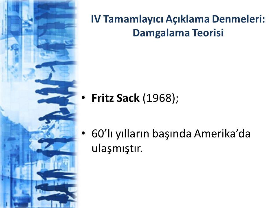 IV Tamamlayıcı Açıklama Denmeleri: Damgalama Teorisi Fritz Sack (1968); 60'lı yılların başında Amerika'da ulaşmıştır.