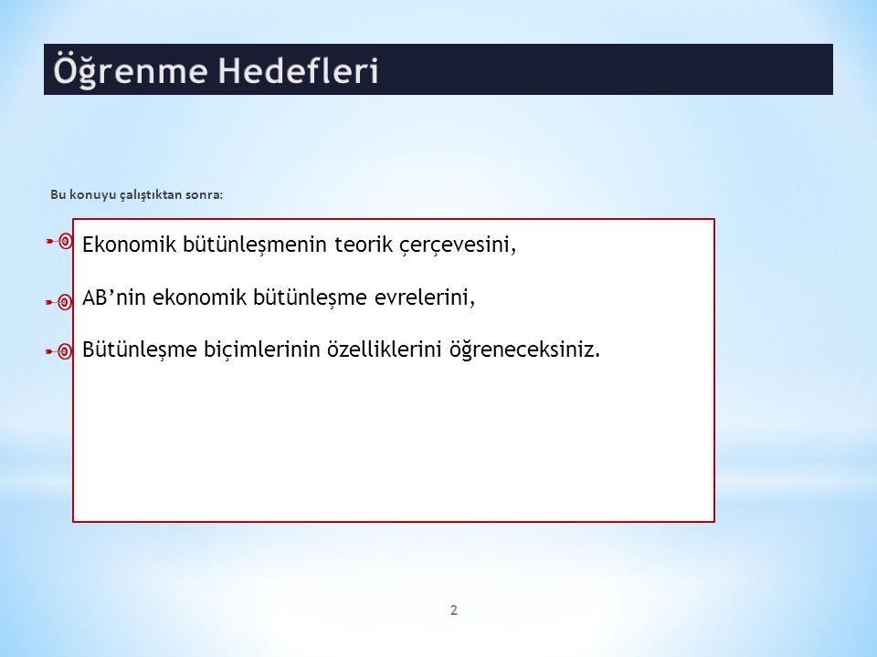 I.Ekonomik Bütünleşme A. Serbest Ticaret Bölgesi B.