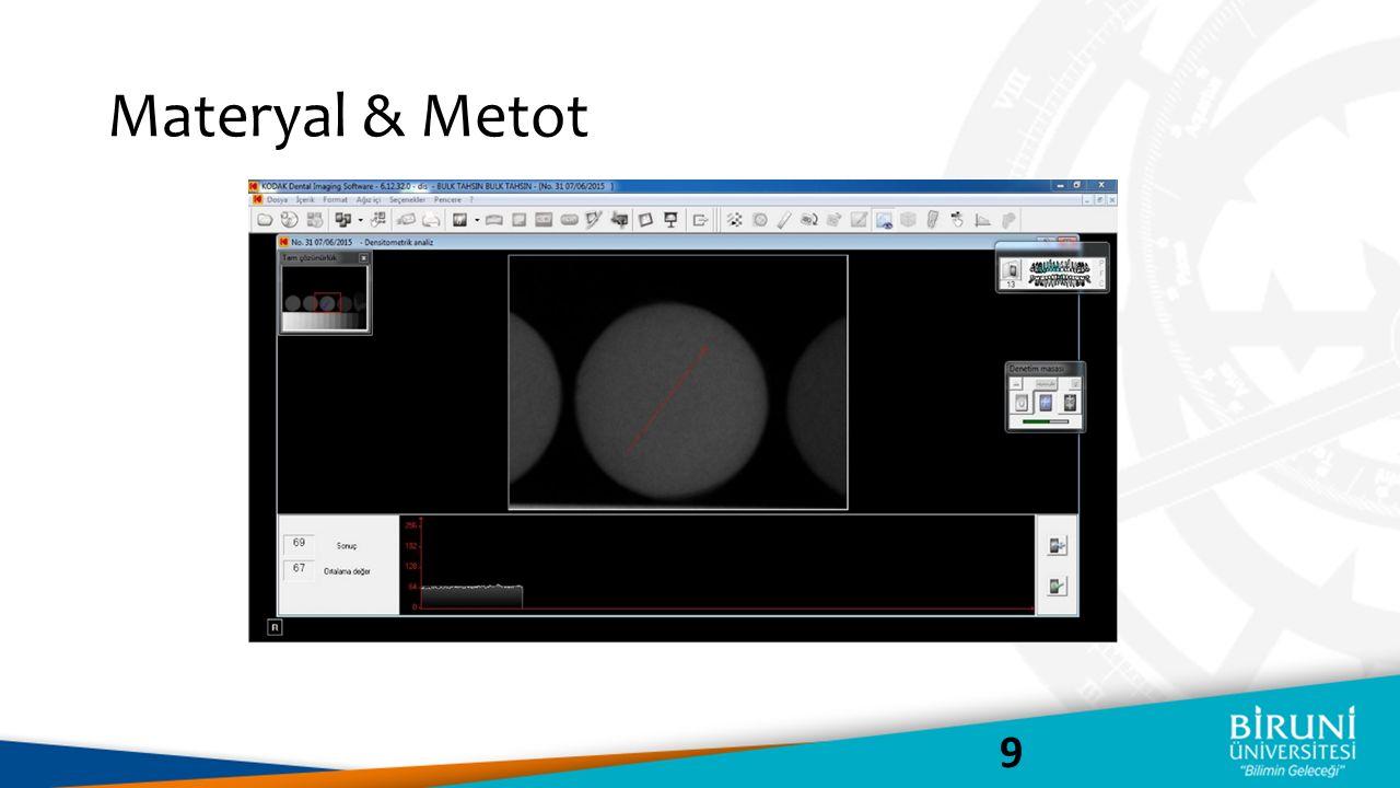 Ekranda CCD sensör ile alınan bir radyografi örneği görülmektedir.