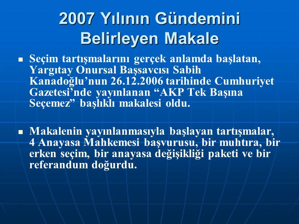 2007 Yılının Gündemini Belirleyen Makale Seçim tartışmalarını gerçek anlamda başlatan, Yargıtay Onursal Başsavcısı Sabih Kanadoğlu'nun 26.12.2006 tarihinde Cumhuriyet Gazetesi'nde yayınlanan AKP Tek Başına Seçemez başlıklı makalesi oldu.