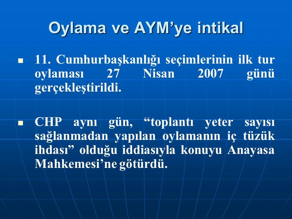 """Oylama ve AYM'ye intikal 11. Cumhurbaşkanlığı seçimlerinin ilk tur oylaması 27 Nisan 2007 günü gerçekleştirildi. CHP aynı gün, """"toplantı yeter sayısı"""